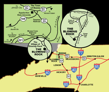 Map to The Blowing Rock